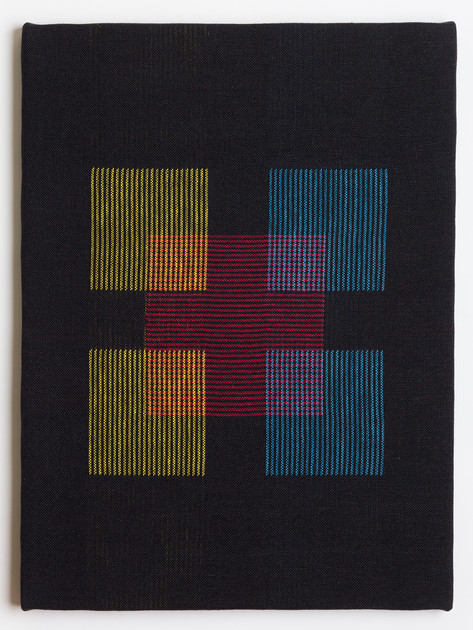 "Untitled (Black Primary Blocks), 2018, linen, 23"" x 17"""
