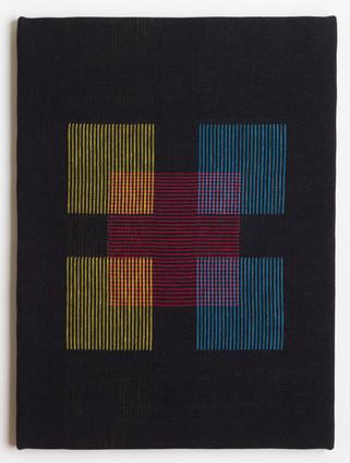 "Untitled (Black Primary Blocks), 2018, linen, 23"" x 17"""