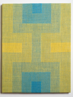 """Untitled (Fade:Yellow to Blue), 2018, linen, 21.5"""" x 16.5"""""""