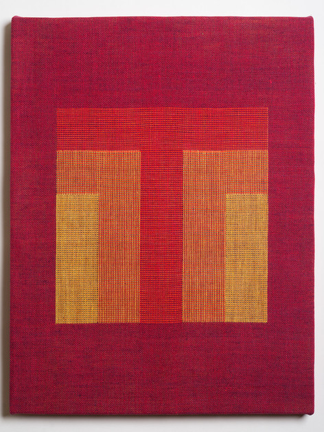 """Untitled (Homage:Red Yellow), 2018, linen, 21.5"""" x 16.5"""""""