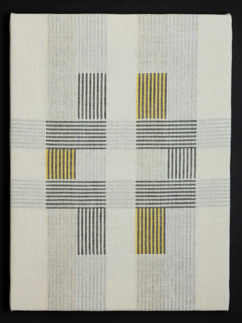 "Untitled (Bauhaus Gold), 2018, linen, 23"" x 17"""