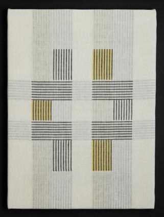 """Untitled (Bauhaus Gold), 2018, linen, 23"""" x 17"""""""