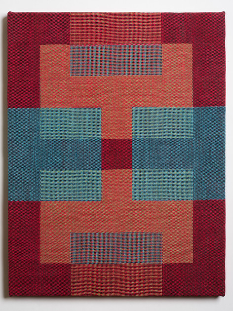 """Untitled (Overlap:Red Blue), 2018, linen, 21.5"""" x 16.5"""""""