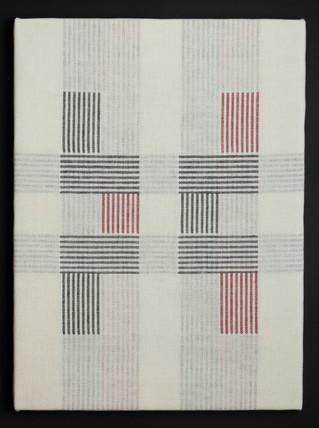 """Untitled (Bauhaus Red), 2018, linen, 23"""" x 17"""""""