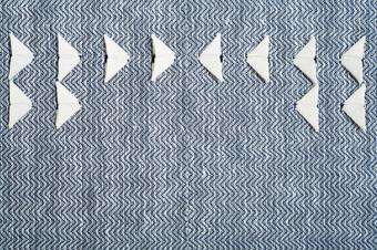 """Twill Dot Negative, detail, 2015, linen, 24"""" x 24"""""""