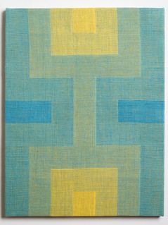 """Untitled (Fade:Blue to Yellow), 2018, linen, 21.5"""" x 16.5"""""""