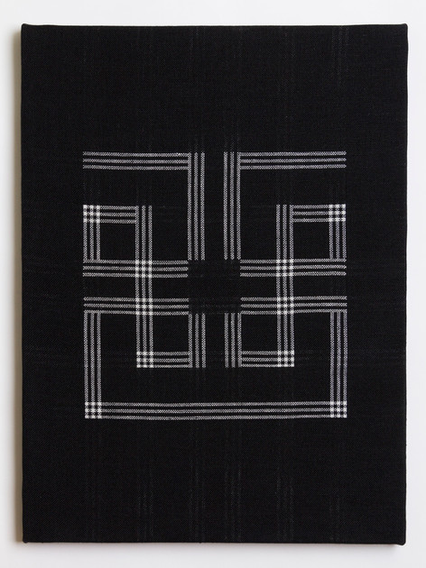 "Untitled (Black Meander), 2018, linen, 23"" x 17"""