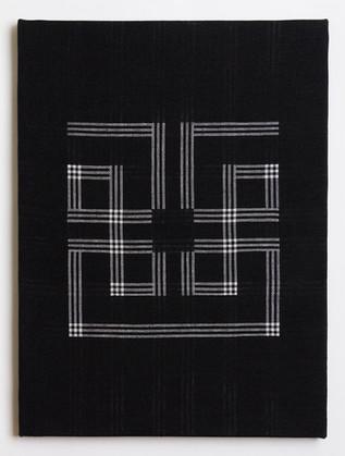 """Untitled (Black Meander), 2018, linen, 23"""" x 17"""""""