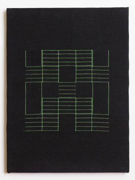 "Untitled (Black Green Grid), 2018, linen, 23"" x 17"""
