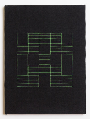 "Untitled (Black Green Grid), 2018, linen, 23"" x 17"""