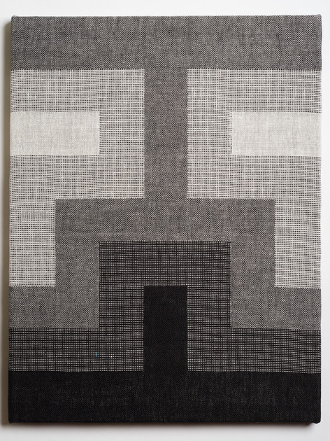 """Untitled (Fade:Black to White), 2018, linen, 21.5"""" x 16.5"""""""