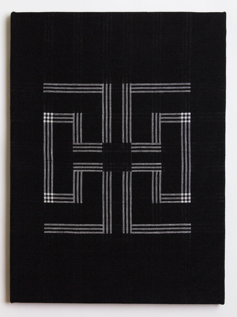 "Untitled (Black Key), 2018, linen, 23"" x 17"""