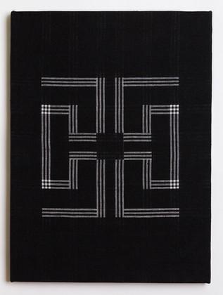 "Untitled (Black Key), 2018, linen, 23"" x 17"""