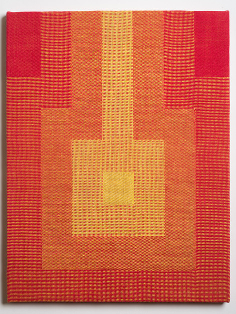 """Untitled (Fade:Red to Yellow), 2018, linen, 21.5"""" x 16.5"""""""