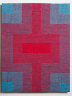 """Untitled (Fade:Blue to Red), 2018, linen, 21.5"""" x 16.5"""""""