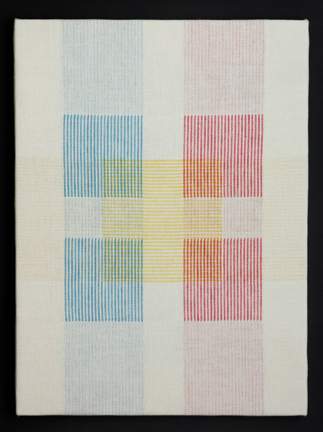 "Untitled (White Primary Blocks), 2018, linen, 23"" x 17"""