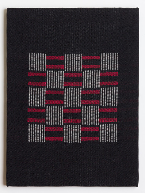 "Untitled (Black Red Webbing), 2018, linen, 23"" x 17"""