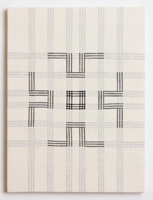 """Untitled (White Poppy), 2018, linen, 23"""" x 17"""""""