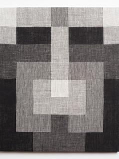 "Untitled (Tetris:Black White), 2018, linen, 19.5"" x 16.5"""