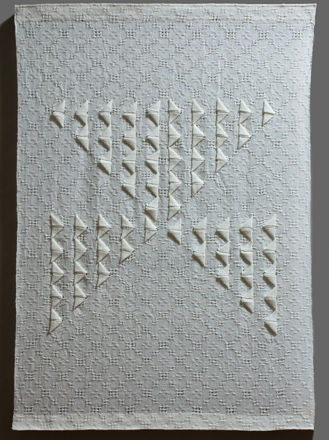 """Origami Lace, 2016, linen, 31"""" x 22.5"""""""