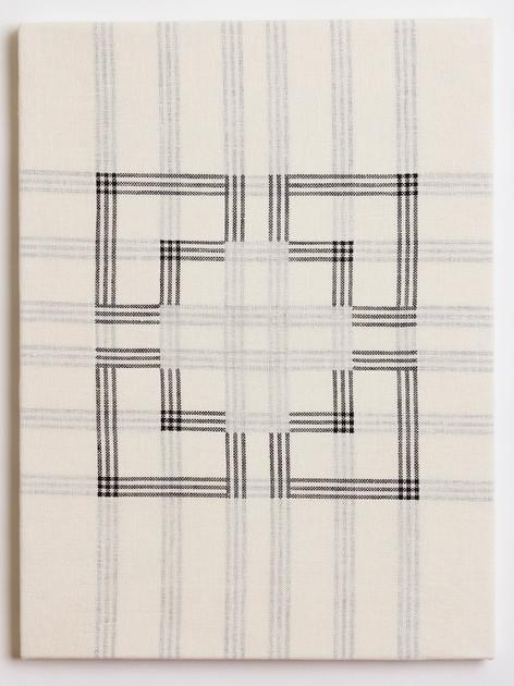 "Untitled (White Corners), 2018, linen, 23"" x 17"""