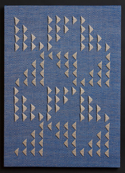 """Untitled (Blue Primary), 2017, linen, 28.5"""" x 20"""""""