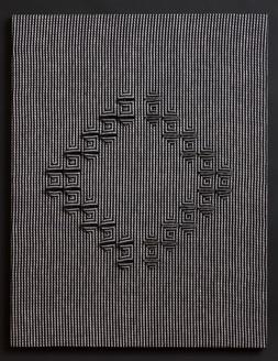 "Untitled (BW Stripes Diamond), 2017, linen, 27"" x 21"""