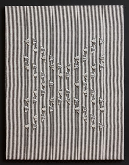 "Untitled (BW Stripes X), 2017, linen, 27"" x 21"""