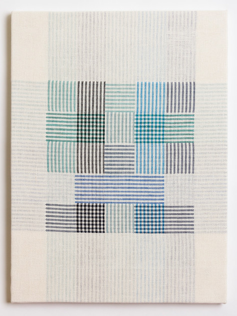 "Untitled (White Blue Plaid), 2018, linen, 23"" x 17"""