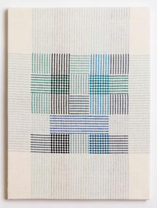 """Untitled (White Blue Plaid), 2018, linen, 23"""" x 17"""""""