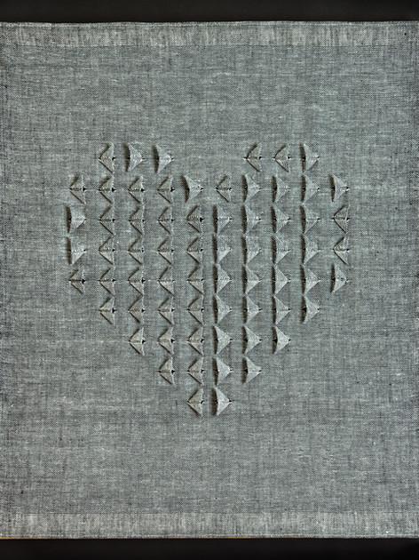 "Dopplegängers 1, 2016, linen, 29"" x 24"""