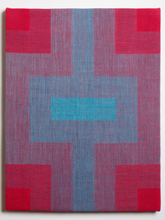 """Untitled (Fade:Red to Blue), 2018, linen, 21.5"""" x 16.5"""""""