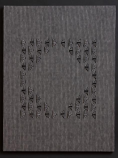 "Untitled (BW Stripes Box), 2017, linen, 27"" x 21"""