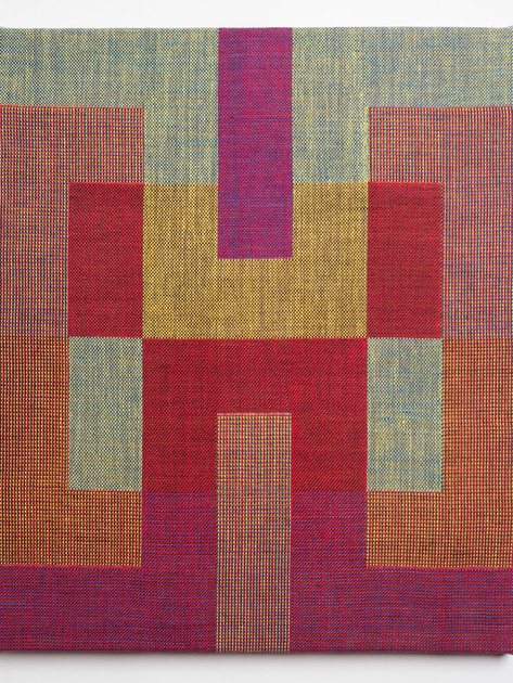 "Untitled (Tetris:Red Yellow), 2018, linen, 19.5"" x 16.5"""