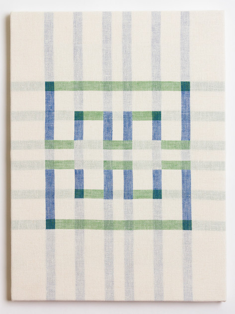 "Untitled (White Blue/Green), 2018, linen, 23"" x 17"""
