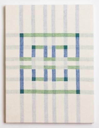 "Untitled (White Blue/Green), 2018, linen, 23"" x 17"""