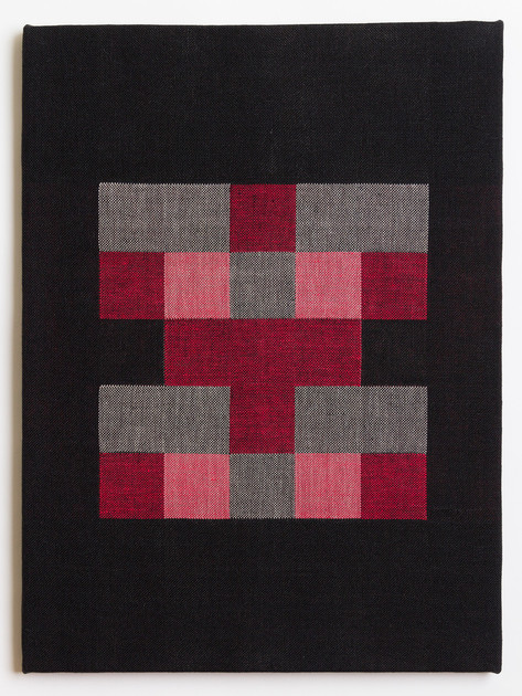 "Untitled (Black Red Blocks), 2018, linen, 23"" x 17"""