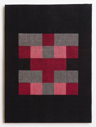 "Untitled (Black Red Blocks), 2018, linen, 23"" x 17"""