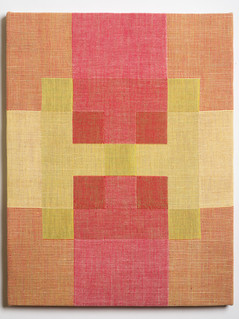 """Untitled (Overlap:Red Yellow), 2018, linen, 21.5"""" x 16.5"""""""