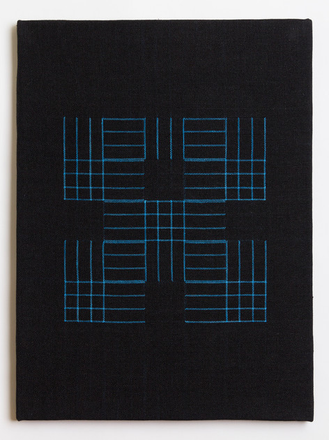"Untitled (Black Blue Grid), 2018, linen, 23"" x 17"""