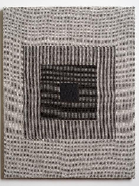 "Untitled (Homage:Black White), 2018, linen, 21.5"" x 16.5"""