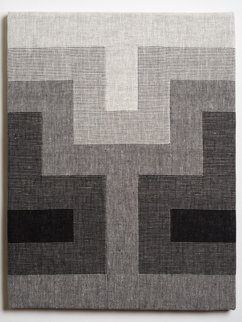 """Untitled (Fade:White to Black), 2018, linen, 21.5"""" x 16.5"""""""