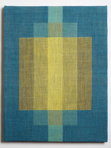 "Untitled (Overlap:Blue Yellow), 2018, linen, 21.5"" x 16.5"""