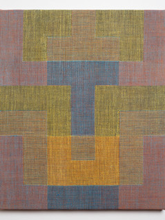 "Untitled (Tetris:Blue Yellow), 2018, linen, 19.5"" x 16.5"""