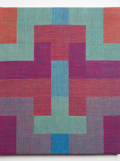"Untitled (Tetris:Red Blue), 2018, linen, 19.5"" x 16.5"""