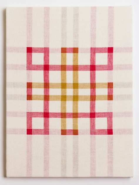 "Untitled (White Red/Gold), 2018, linen, 23"" x 17"""