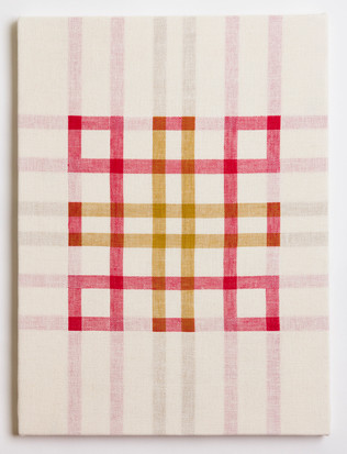 """Untitled (White Red/Gold), 2018, linen, 23"""" x 17"""""""
