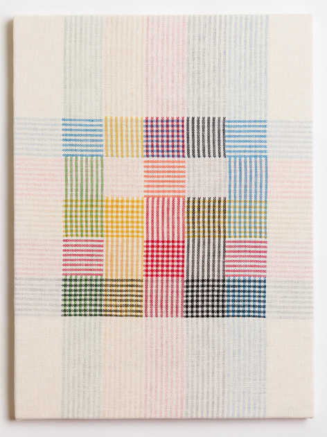 "Untitled (White Primary Plaid), 2018, linen, 23"" x 17"""
