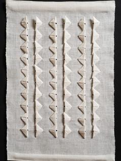 "Crane Wife #3, 2013, linen, 21"" x 14"""