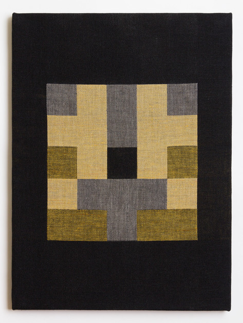 "Untitled (Black Gold Blocks), 2018, linen, 23"" x 17"""